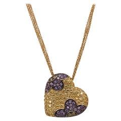 Italian Yellow & Purple Sapphire 18 Karat Yellow Gold Heart Pendant Necklace