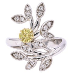 Italian Yellow Sapphires Diamond Floral Ring 0.29 Carat 18 Karat