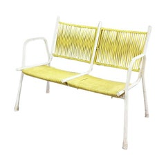 Italian Yellow Scooby Two-Seats Bench with Armrests, 1950s
