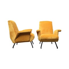 Italian Yellow Velvet Armchairs, 1960s