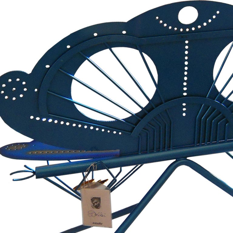 Italian Zanotta R. Dalisi Blue Painted Steel Bench, Limited Edition For Sale 7