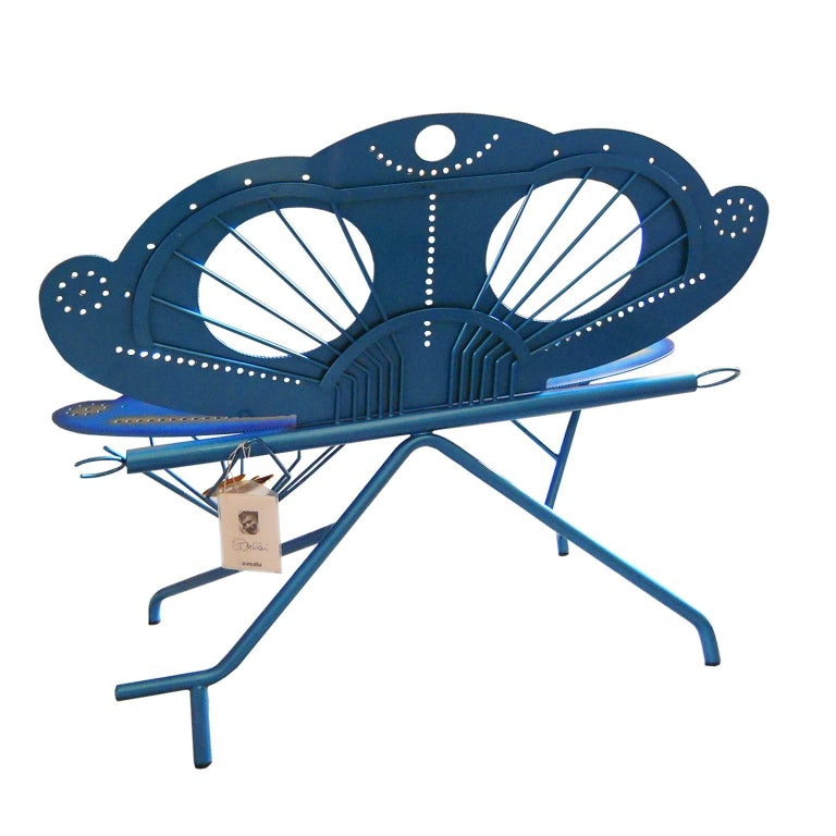 Post-Modern Italian Zanotta R. Dalisi Blue Painted Steel Bench, Limited Edition For Sale