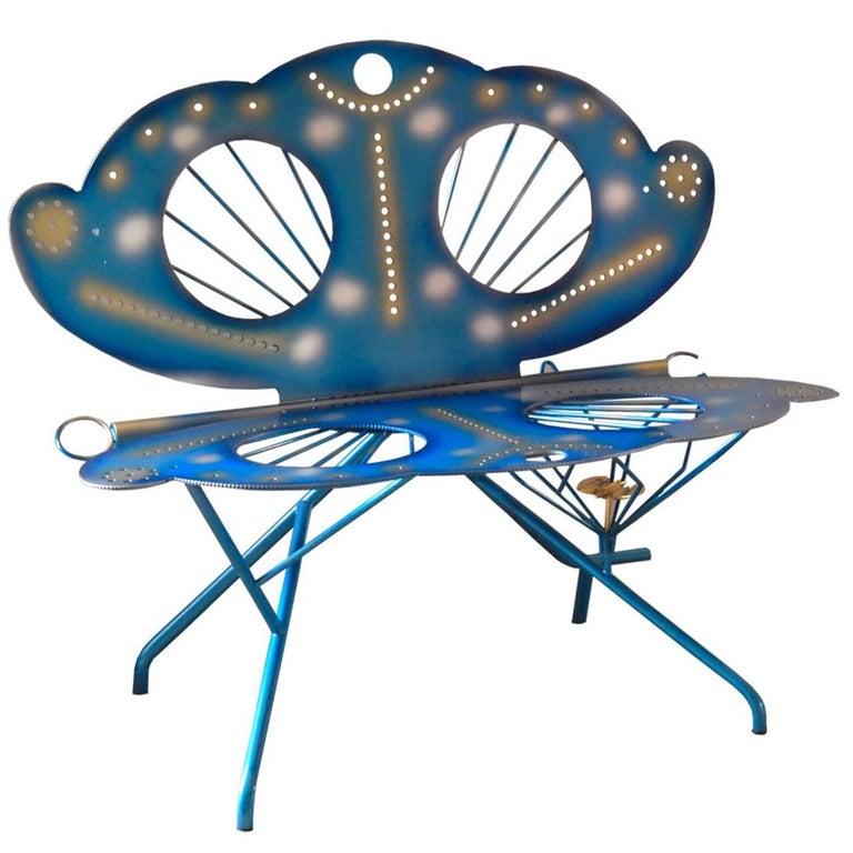 Italian Zanotta R. Dalisi Blue Painted Steel Bench, Limited Edition In Excellent Condition For Sale In Mornico al Serio ( BG), Lombardia