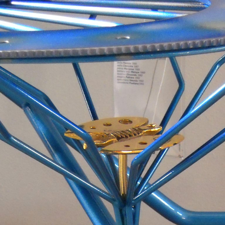 Italian Zanotta R. Dalisi Blue Painted Steel Bench, Limited Edition For Sale 1