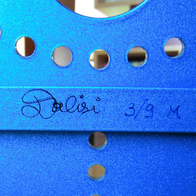 Italian Zanotta R. Dalisi Blue Painted Steel Bench, Limited Edition For Sale 2