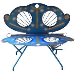 Italian Zanotta R. Dalisi Blue Painted Steel Bench, Limited Edition