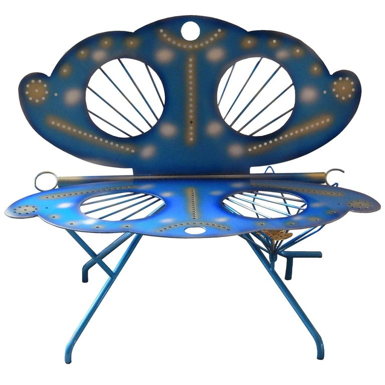 Italian Zanotta R. Dalisi Blue Painted Steel Bench, Limited Edition For Sale