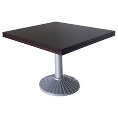 Italian Zanotta Veneered Wood Wengè-Stained Extension Table with Cast Iron Base
