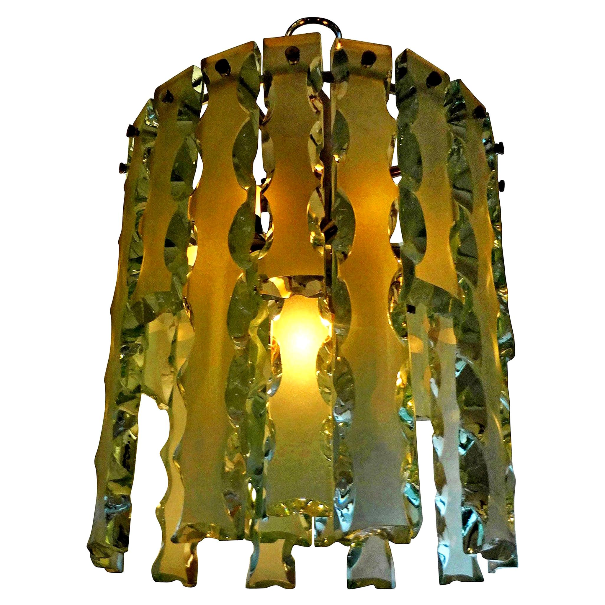 Italian Zero Quattro-Fontana Arte Frosted Glass Chandelier