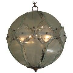 Italian Zero Quattro-Fontana Arte Frosted Glass Sphere Chandelier or Pendant