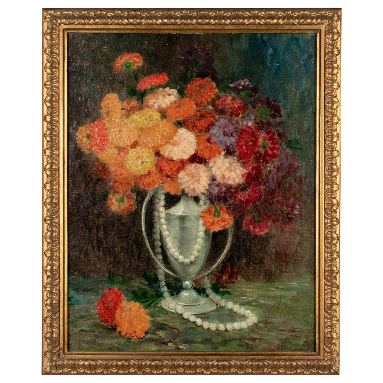 Italian Zinnias Floral Still Life Oil Painting