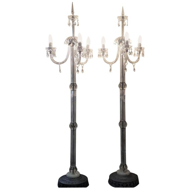 Italianate Lead Crystal Chandelier Floor Lamps circa 1940 For Sale