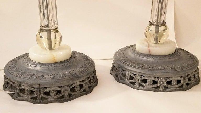 Italianate Lead Crystal Chandelier Floor Lamps circa 1940 For Sale 6
