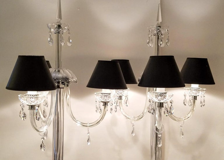 Early 20th Century Italianate Lead Crystal Chandelier Floor Lamps circa 1940 For Sale