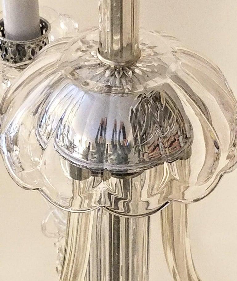 Italianate Lead Crystal Chandelier Floor Lamps circa 1940 For Sale 3