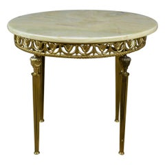 Italianate Lamp Table Gilt Metal Onyx Classical Revival, Side, Late 20th Century