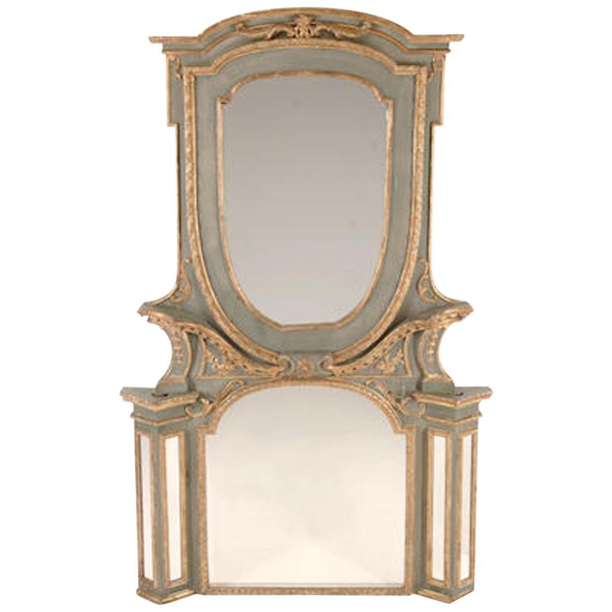 Italian Parcel-Gilt Green Painted Mirror, 19th Century