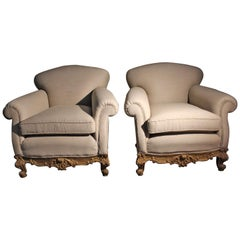 Italians Midcentury Pair of Baroque Style Armchairs in Linen and Golden Walnut