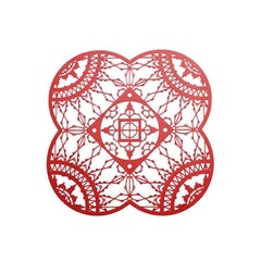 Italic Lace Red Finish Petal Coaster Set of Four by Galante & Lancman for Driade