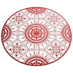 Italic Lace Round Placemat in Red by Galante & Lancman for Driade