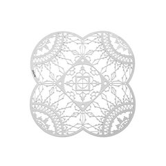Italic Lace White Finish Petal Coaster Set of Four, Galante & Lancman for Driad