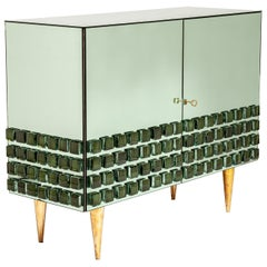 Italian Studio Made Mirrored Sideboard Green-Olive Hand Cast Opal Glass Stones
