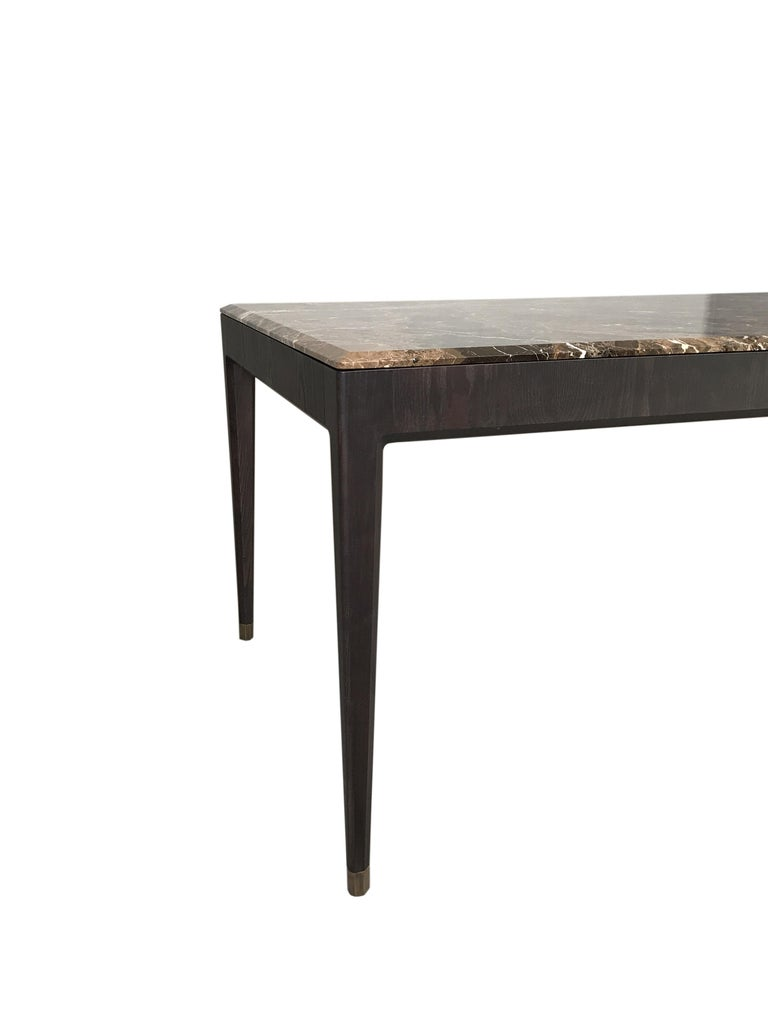 Italo Contemporary Dining Table in Ashwood and Marble Top For Sale 3