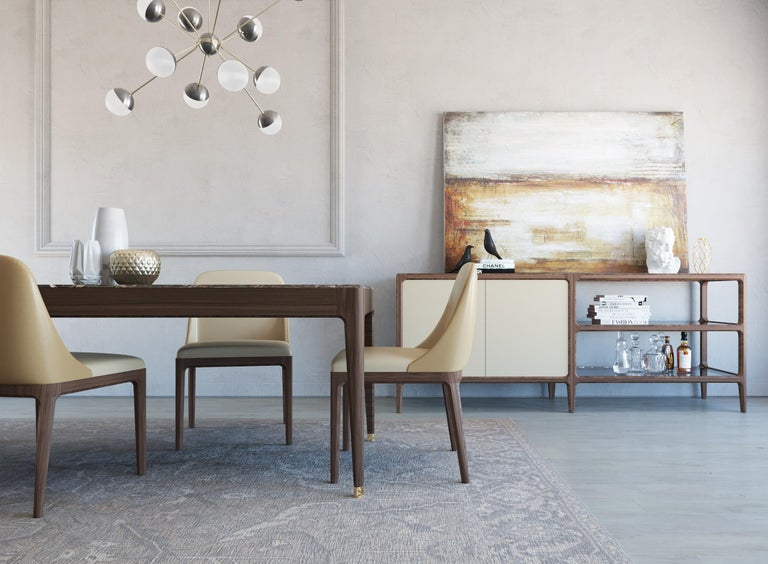Italo Contemporary Dining Table in Ashwood and Marble Top For Sale 4