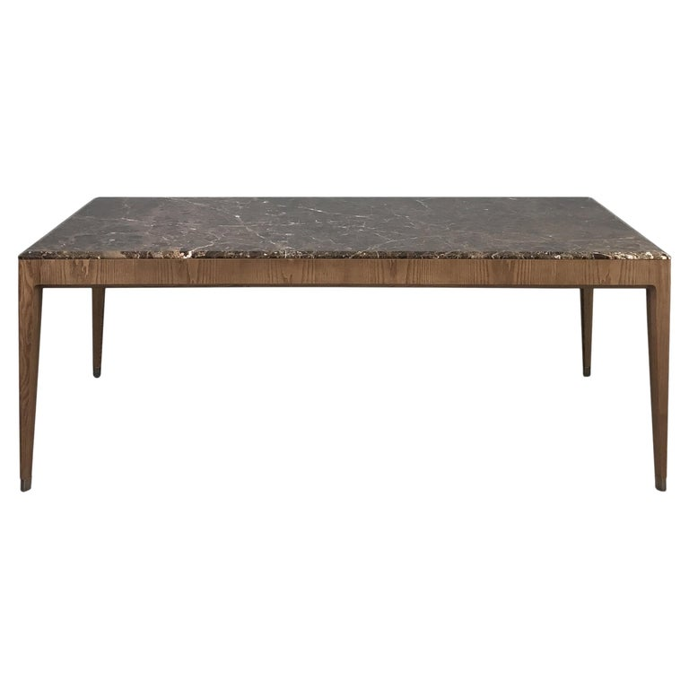 Italo Contemporary Dining Table in Ashwood and Marble Top For Sale