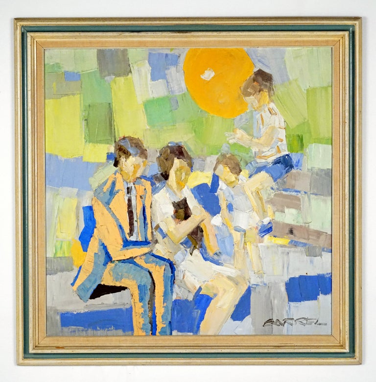 Family in a Park - Painting by Italo George Botti