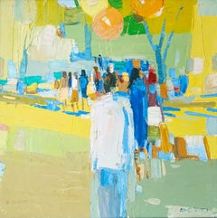 "Italo George Botti ""Park Scene"", original oil on canvas"