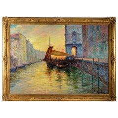 Italo Giordani Oil on Panel Dusk Venice View, circa 1900