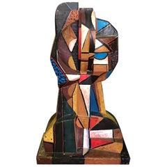 Italo Scanga Large Cubist Polychrome Modern Wood Head Bust Sculpture, 1986