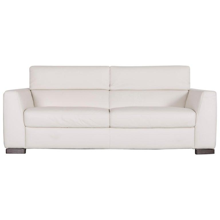Italsofa Designer Leather Sofa Crème White Modern Three-Seat Couch