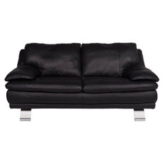 Italsofa Leather Sofa Black Two-Seat Couch