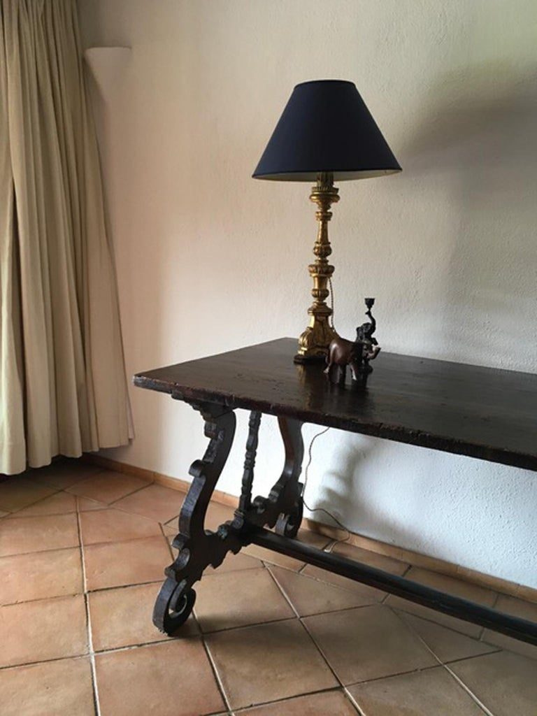 Italy 17th Century Walnut Table in Baroque Style For Sale 14