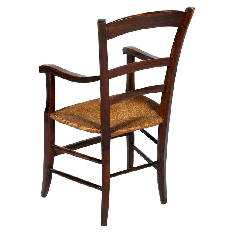 Italian Italy 18th Century Country Rustic Armchair, Chestnut Wood Hand Cut and Restored For Sale