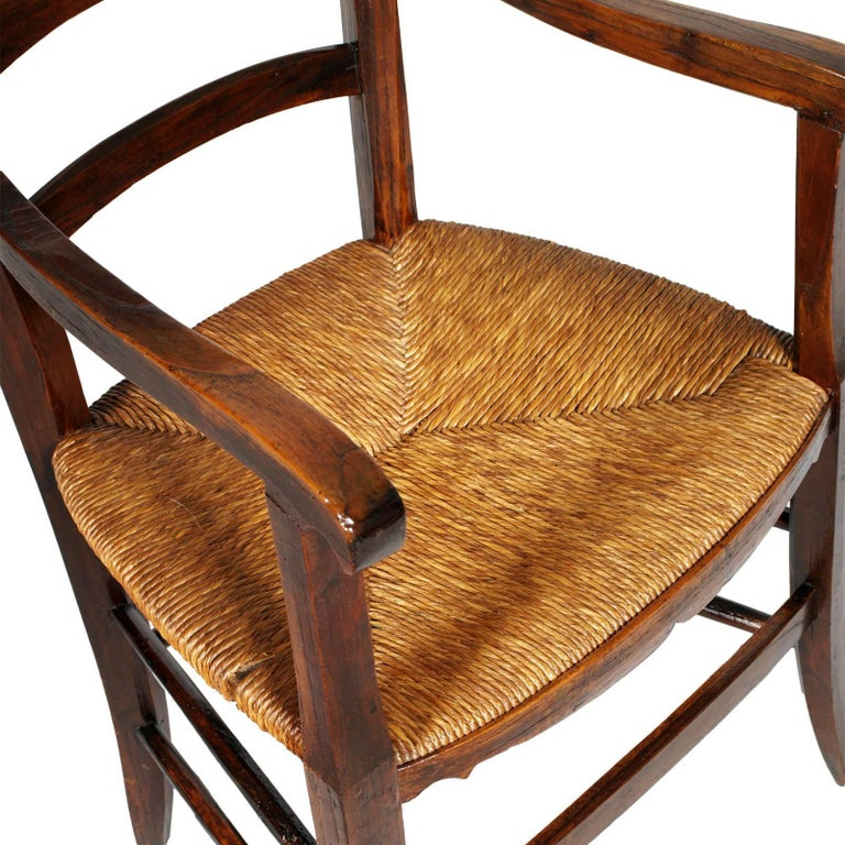 Straw Italy 18th Century Country Rustic Armchair, Chestnut Wood Hand Cut and Restored For Sale