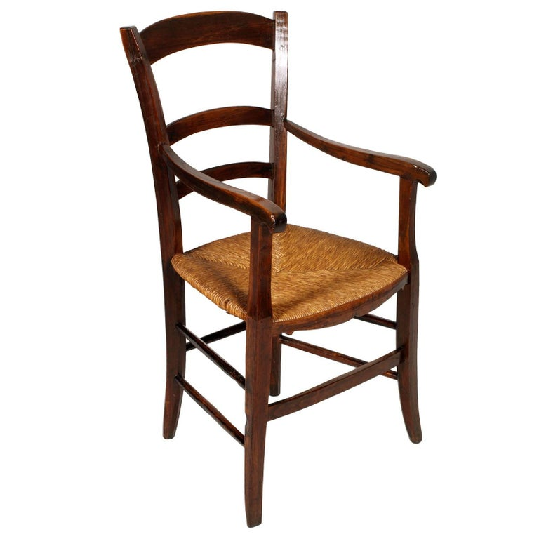 Italy 18th Century Country Rustic Armchair, Chestnut Wood Hand Cut and Restored For Sale