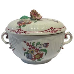 Italy 18th Century Richard Ginori Porcelain Covered Cup with Floral Drawings