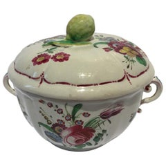 Italy 18th Century Richard Ginori Porcelain Sugar Bowl with Floral Drawings
