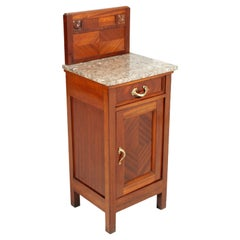Italy 1910s Art Nouveau Nightstand in Mahogany, Marble Top Restored Wax Polished