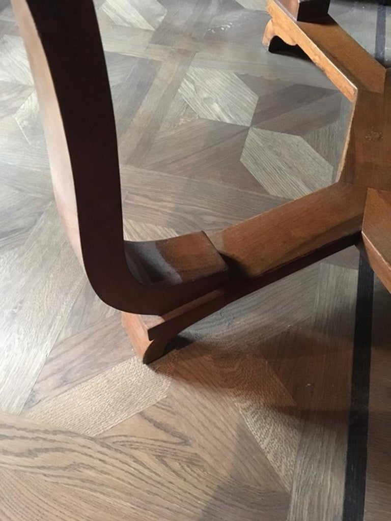 Italy 1930 Walnut Dining Table or Desk in Art Deco Style For Sale 7
