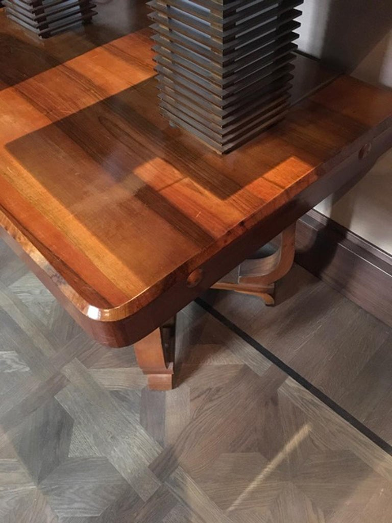 Italy 1930 Walnut Dining Table or Desk in Art Deco Style For Sale 9