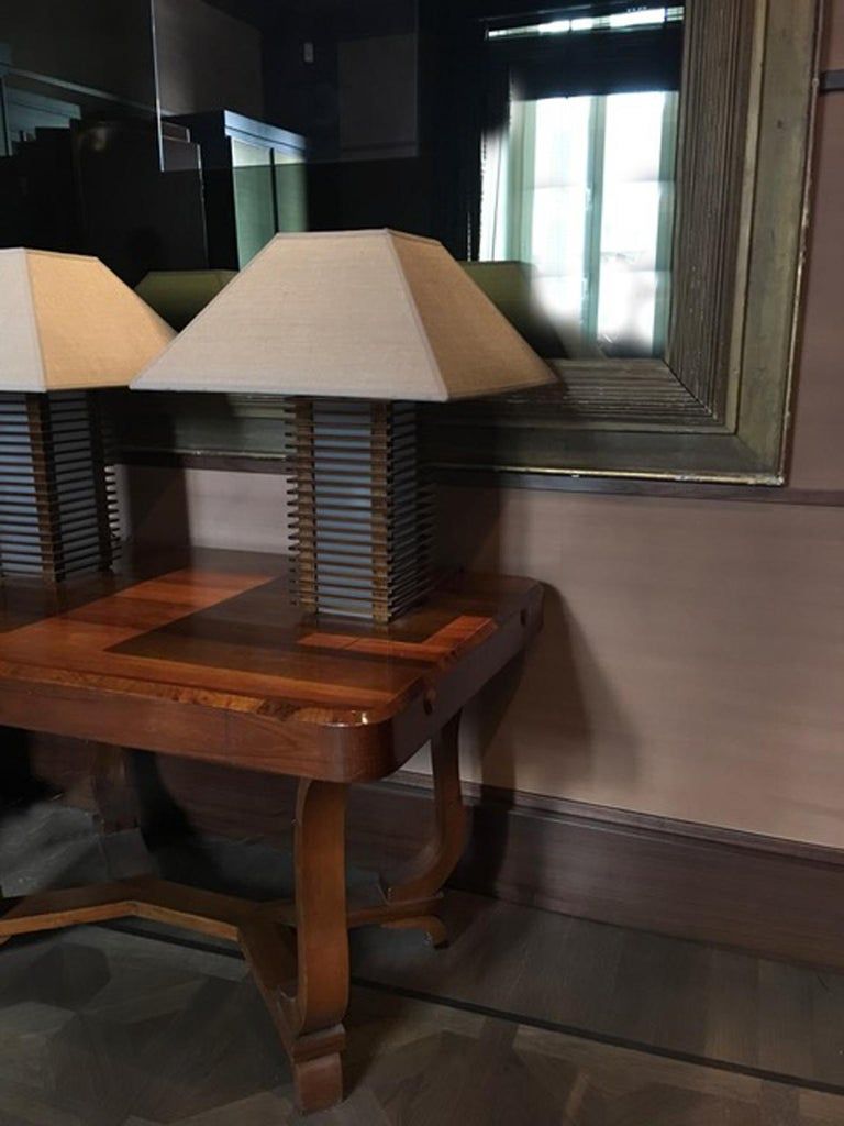 Italy 1930 Walnut Dining Table or Desk in Art Deco Style For Sale 10