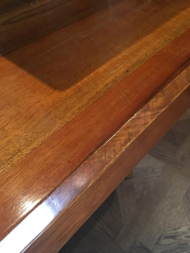 20th Century Italy 1930 Walnut Dining Table or Desk in Art Deco Style For Sale