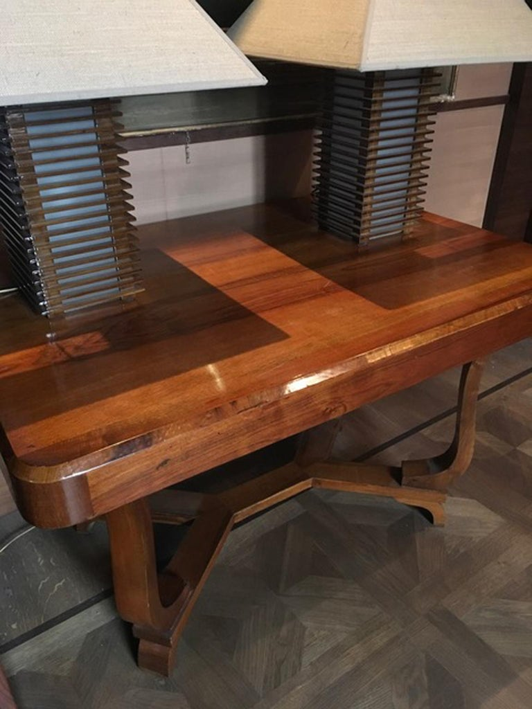 Italy 1930 Walnut Dining Table or Desk in Art Deco Style For Sale 3
