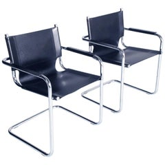 Italy 1960 Cantilever Armchairs Style S34 Mart Stam in Chromed Steel Numbered