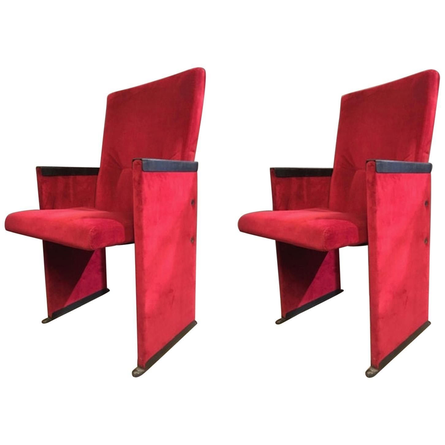 Italy 1960 Carlo Scarpa Design Pair of Red Velvet Armchairs for Auditorium