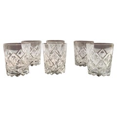 Italy 1960 Set 6 Barware Crystal Glasses in Post Modern Style